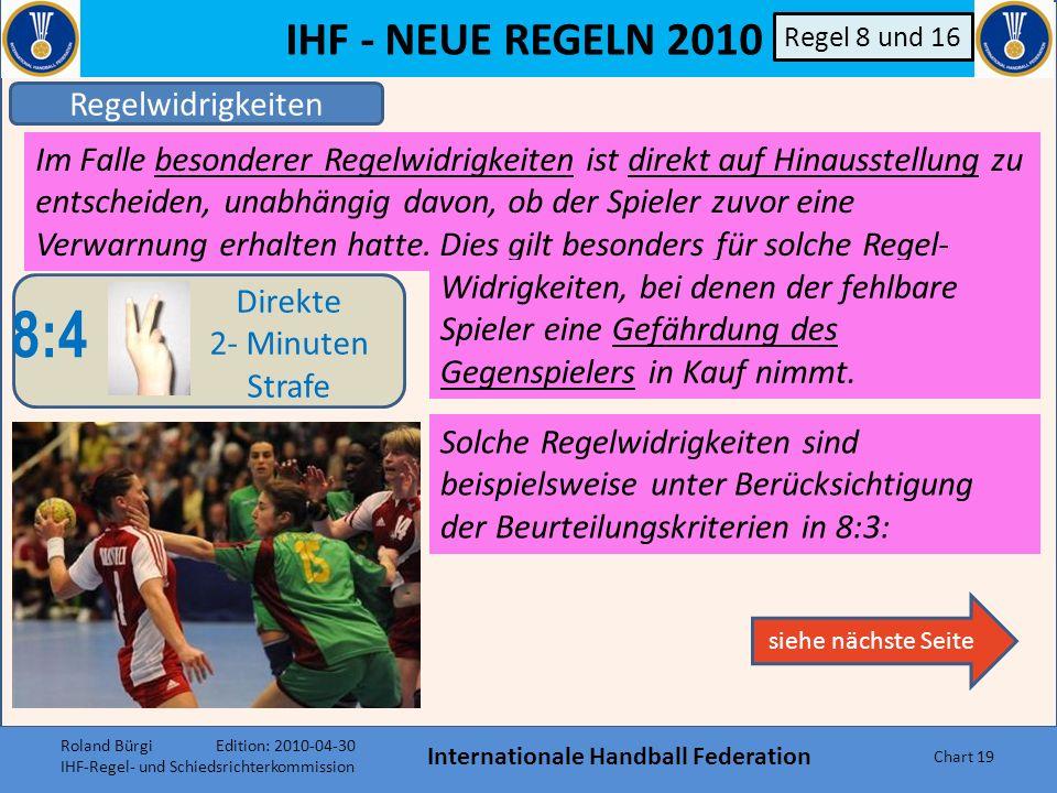 IHF - NEUE REGELN 2010 Internationale Handball Federation Chart 18 Regelwidrigkeiten 8:3 Normale Progressive Bestrafung Regel 8 und 16 Wie bisher, Akt