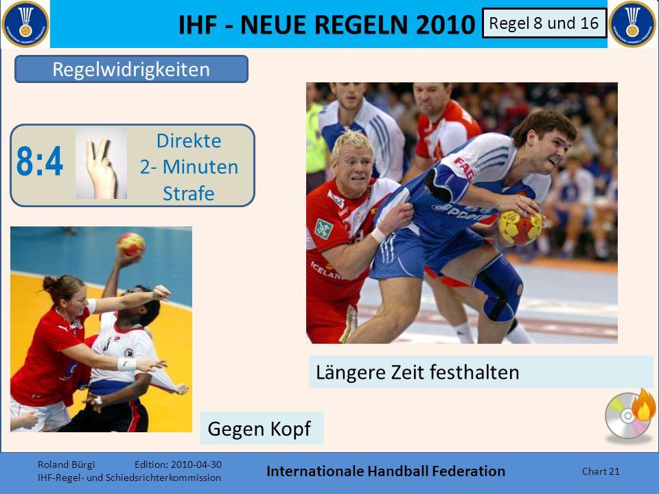 IHF - NEUE REGELN 2010 Internationale Handball Federation Chart 20 Regelwidrigkeiten 8:4 Direkte 2- Minuten Strafe B Regel 8 und 16 a)Vergehen, die mi