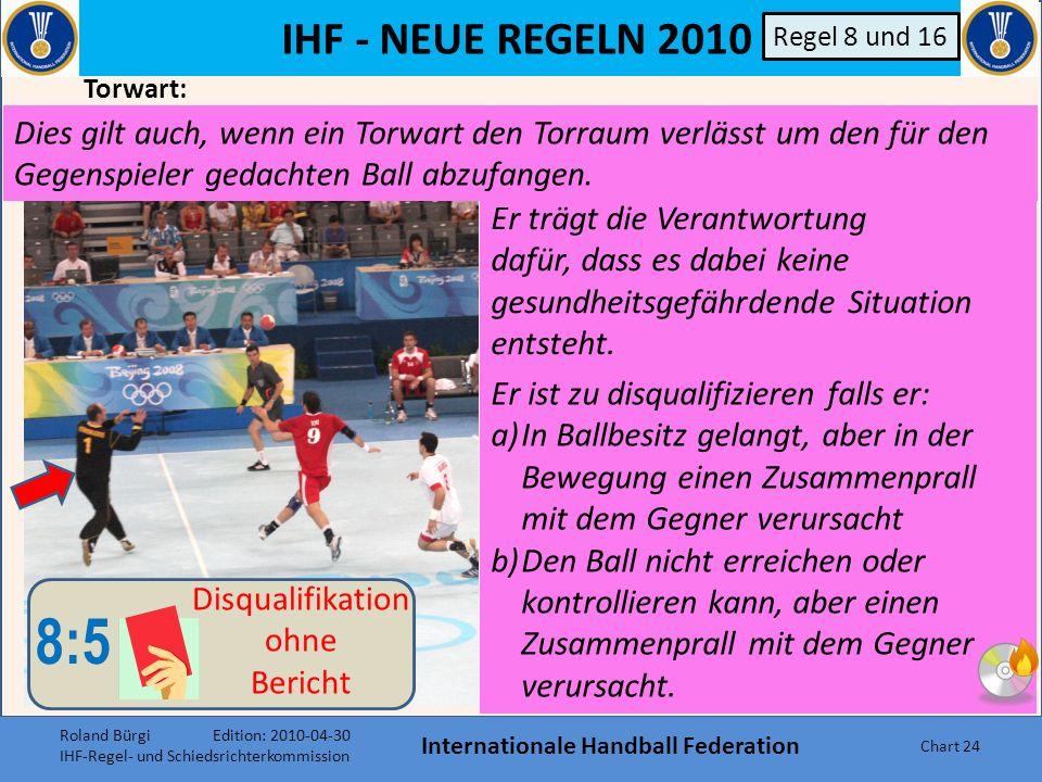 IHF - NEUE REGELN 2010 Internationale Handball Federation Chart 23 Tatsächlicher Verlust der Körperkontrolle im Lauf oder Sprung, während einer Wurfak