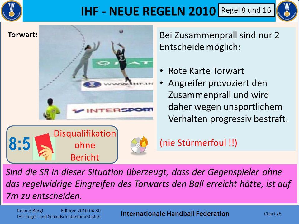 IHF - NEUE REGELN 2010 Internationale Handball Federation Chart 24 B Er ist zu disqualifizieren falls er: a)In Ballbesitz gelangt, aber in der Bewegun