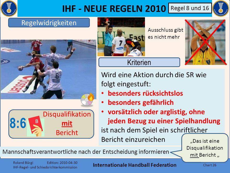 IHF - NEUE REGELN 2010 Internationale Handball Federation Chart 25 B Sind die SR in dieser Situation überzeugt, dass der Gegenspieler ohne das regelwi