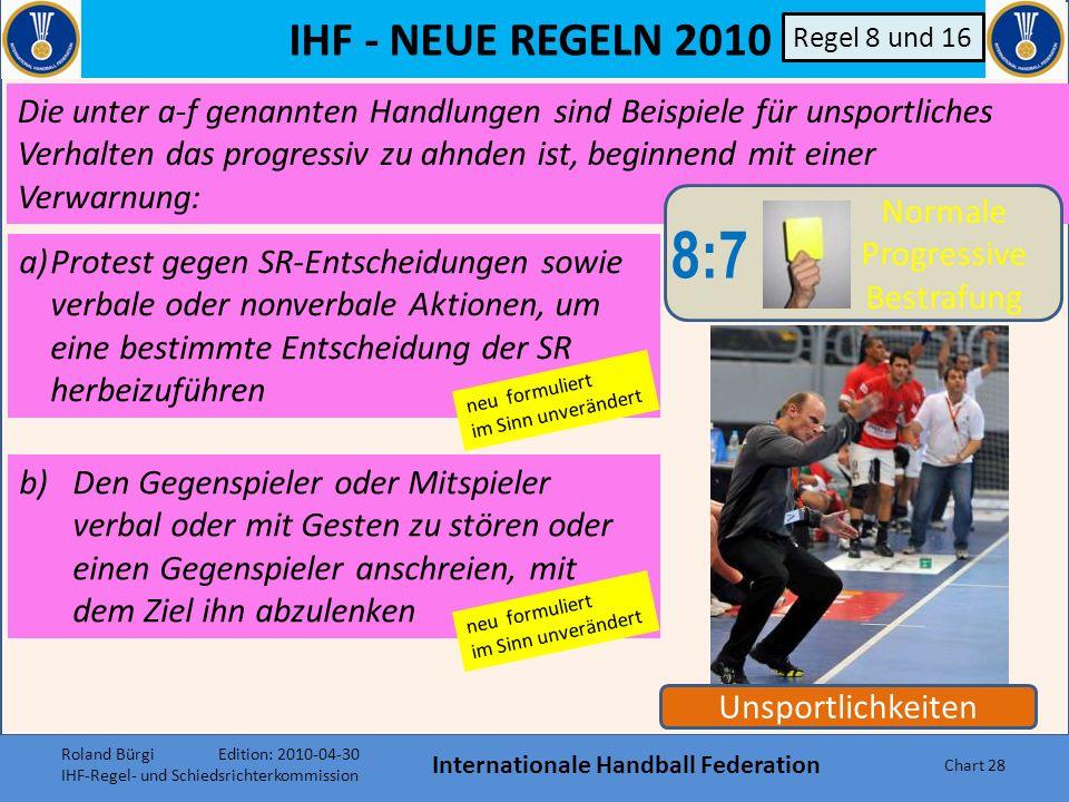 IHF - NEUE REGELN 2010 Internationale Handball Federation Chart 27 Unsportlichkeiten 8:8 Direkte 2- Minuten Strafe 8:7 Normale Progressive Bestrafung 8:9 Disqualifikation ohne Bericht 8:10 B Disqualifikation mit Bericht Regel 8 und 16 Anhand von Beispielen werden Vergehen, die nicht mit dem Sportgeist vereinbar sind, in 4 Stufen eingeteilt und gemäss diesen Stufen 8:7-8:10 (siehe Graphik rechts) bestraft.