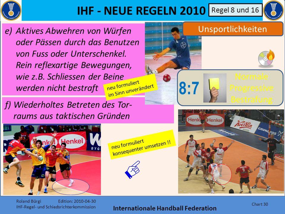 IHF - NEUE REGELN 2010 Internationale Handball Federation Chart 29 Unsportlichkeiten 8:7 Normale Progressive Bestrafung Regel 8 und 16 c)Verzögerung d