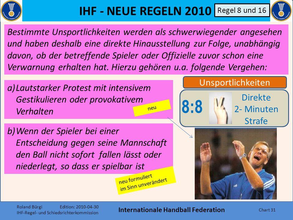 IHF - NEUE REGELN 2010 Internationale Handball Federation Chart 30 f)Wiederholtes Betreten des Tor- raums aus taktischen Gründen neu formuliert konsequenter umsetzen !.