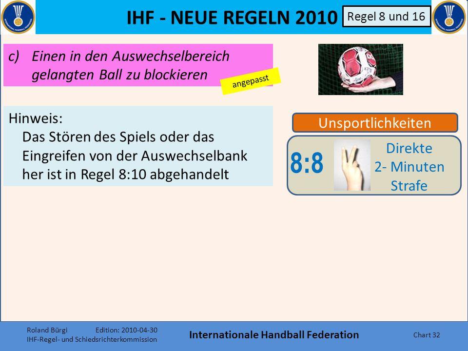IHF - NEUE REGELN 2010 Internationale Handball Federation Chart 31 Unsportlichkeiten 8:8 Direkte 2- Minuten Strafe Regel 8 und 16 Bestimmte Unsportlichkeiten werden als schwerwiegender angesehen und haben deshalb eine direkte Hinausstellung zur Folge, unabhängig davon, ob der betreffende Spieler oder Offizielle zuvor schon eine Verwarnung erhalten hat.