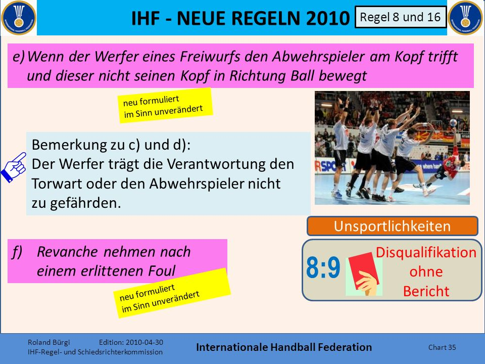 IHF - NEUE REGELN 2010 Internationale Handball Federation Chart 34 Unsportlichkeiten 8:9 Disqualifikation ohne Bericht Regel 8 und 16 c)Den Ball während einer Spielunterbrechnung absichtlich auf einen Gegenspieler werfen.