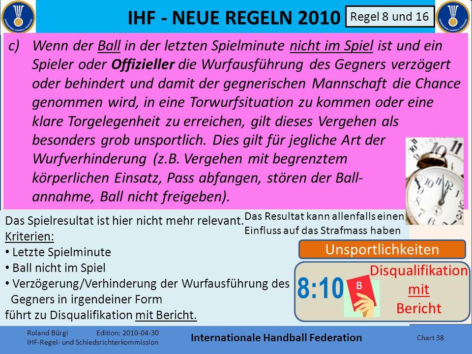 IHF - NEUE REGELN 2010 Internationale Handball Federation Chart 37 Unsportlichkeiten 8:10 B Disqualifikation mit Bericht Regel 8 und 16 b)(I) Das Eingreifen des Mannschaftsoffiziellen in das Spielgeschehen, auf der Spielfläche oder vom Auswechselraum aus oder (II) das Vereitel einer klaren Torgelegenheit durch einen Spieler, entweder durch ein (laut Regel 4:6) unerlaubtes Betreten der Spielfläche oder vom Auswechselraum aus neu formuliert im Sinn unverändert neu als Beispiel Roland Bürgi Edition: 2010-04-30 IHF-Regel- und Schiedsrichterkommission