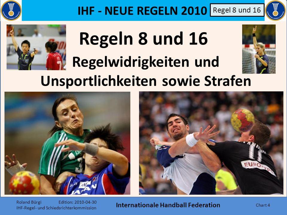 IHF - NEUE REGELN 2010 Internationale Handball Federation Chart 54 Regel 4 Kopftücher Durch die Aufnahme von Kopftüchern (solange sie aus weichem, elastischen Material sind) in den Katalog der von Spielern erlaubt zu tragenden Gegenstände wurde regeltechnisch den religiösen Bedürfnissen vieler Mitgliedsnationen der IHF entsprochen.