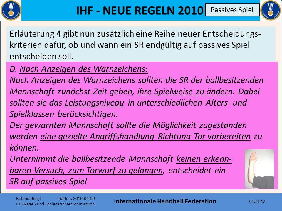 IHF - NEUE REGELN 2010 Passives Spiel Internationale Handball Federation Chart 41 Passives Spiel Erläuterung 4 Roland Bürgi Edition: 2010-04-30 IHF-Re