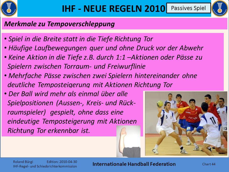 IHF - NEUE REGELN 2010 Internationale Handball Federation Chart 43 Passives Spiel ENTSCHEIDUNGSKRITERIEN nach Anzeigen des Warnzeichens: Angreifende Mannschaft: keine deutliche Temposteigerung keine gezielte Aktion Richtung Tor 1:1-Aktionen, mit denen kein räumlicher Vorteil erzielt wird Verzögerung beim Spielen des Balles (zB.