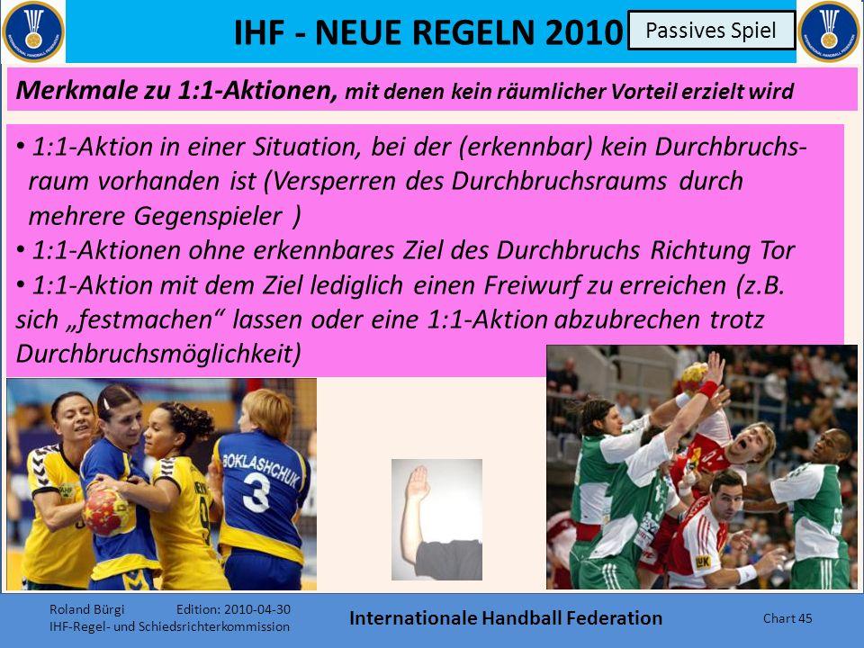 IHF - NEUE REGELN 2010 Internationale Handball Federation Chart 44 Passives Spiel Merkmale zu Tempoverschleppung Spiel in die Breite statt in die Tiefe Richtung Tor Häufige Laufbewegungen quer und ohne Druck vor der Abwehr Keine Aktion in die Tiefe z.B.