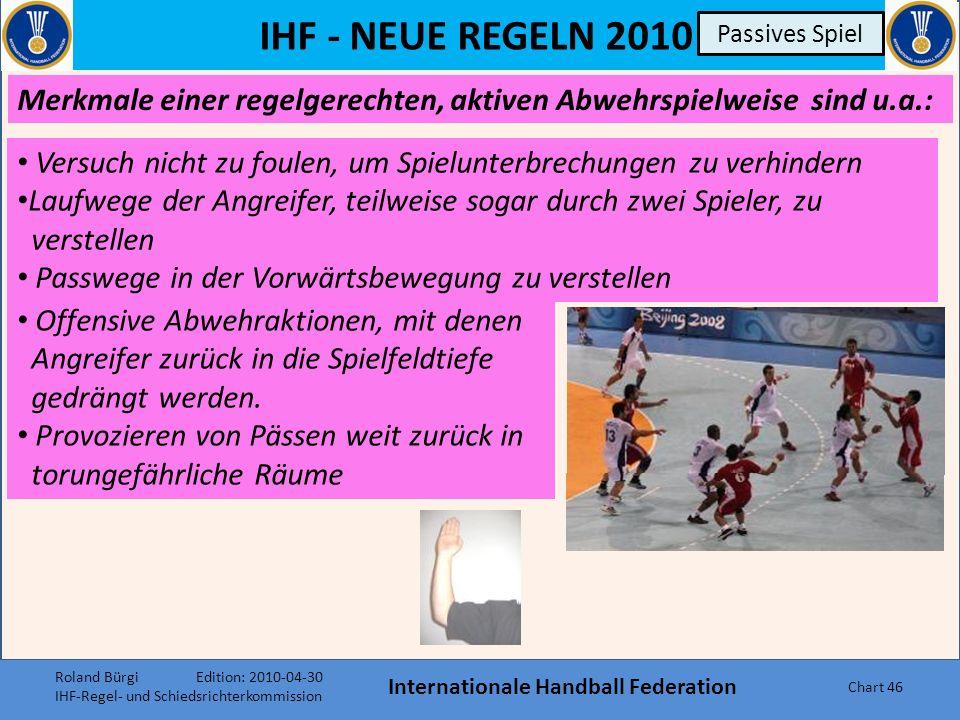 IHF - NEUE REGELN 2010 Internationale Handball Federation Chart 45 Passives Spiel Merkmale zu 1:1-Aktionen, mit denen kein räumlicher Vorteil erzielt