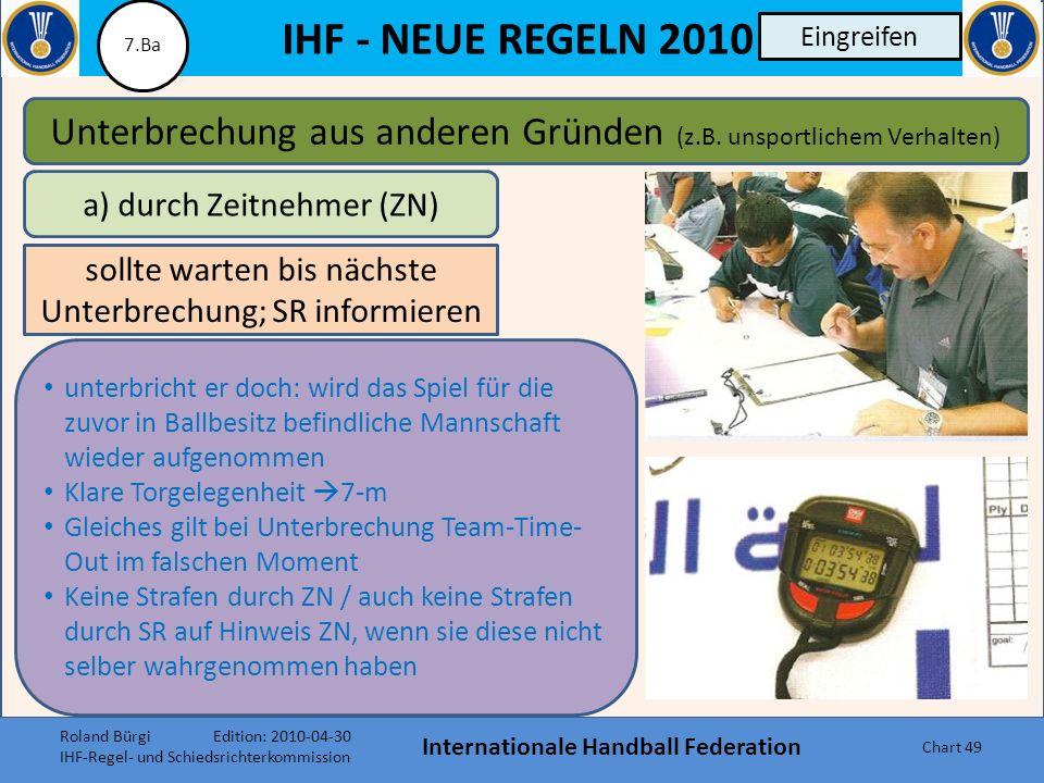 IHF - NEUE REGELN 2010 Internationale Handball Federation Chart 48 Eingreifen Wechselfehler oder Regelwidriges Eintreten Spieler Eingreifen durch Zeit