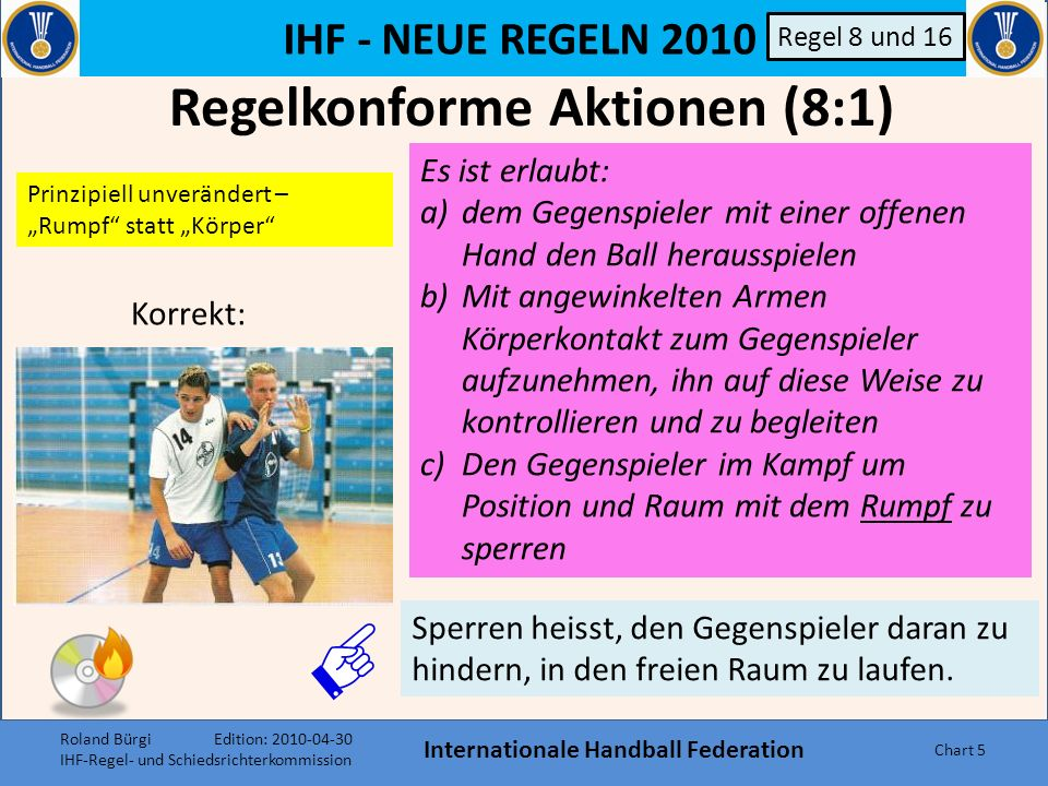IHF - NEUE REGELN 2010 Internationale Handball Federation Chart 15 Regel 8 und 16 C Regelwidrigkeit: Angreifer hält Abwehrspieler fest Einzelaspekt C Unkorrektes Sperren (8:2) Roland Bürgi Edition: 2010-04-30 IHF-Regel- und Schiedsrichterkommission
