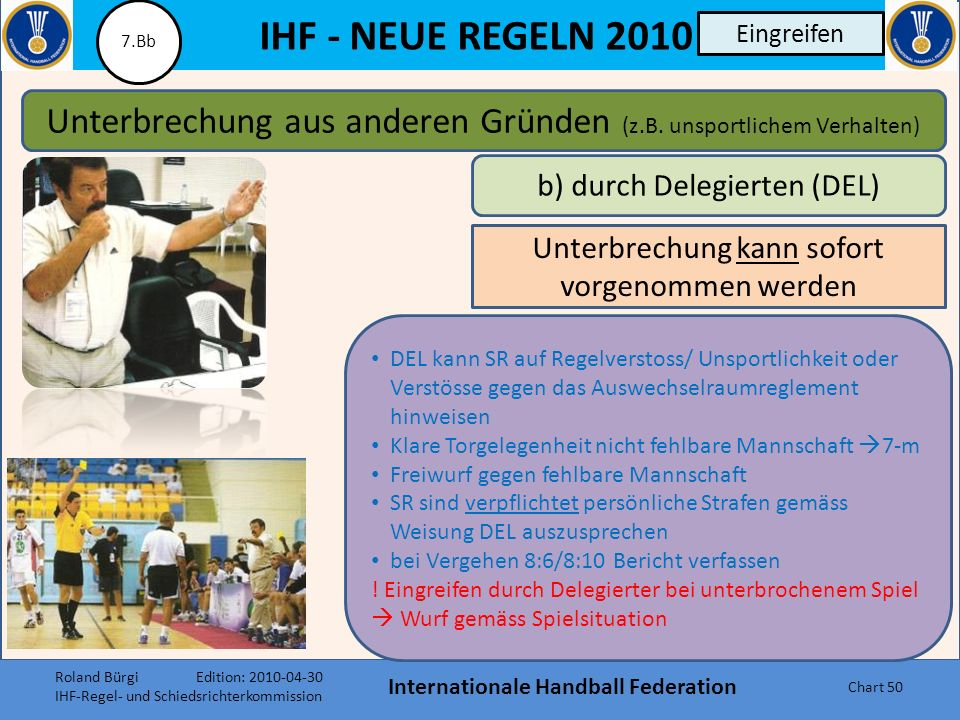 IHF - NEUE REGELN 2010 Internationale Handball Federation Chart 49 Eingreifen Unterbrechung aus anderen Gründen (z.B. unsportlichem Verhalten) a) durc