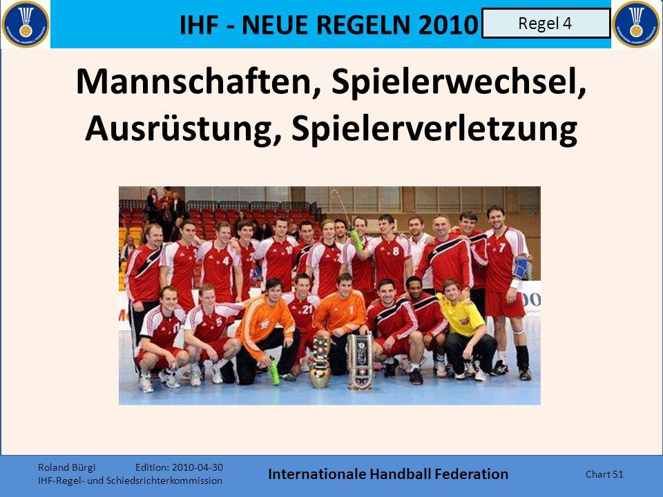 IHF - NEUE REGELN 2010 Internationale Handball Federation Chart 50 Eingreifen Unterbrechung aus anderen Gründen (z.B. unsportlichem Verhalten) 7.Bb b)
