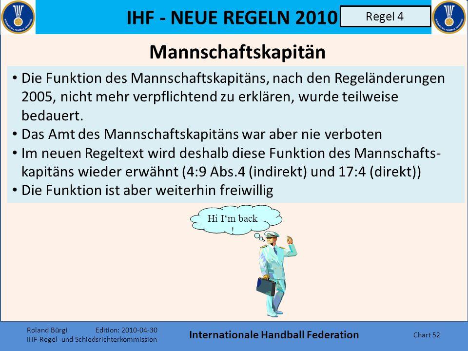IHF - NEUE REGELN 2010 Mannschaften, Spielerwechsel, Ausrüstung, Spielerverletzung Internationale Handball Federation Chart 51 Regel 4 Roland Bürgi Edition: 2010-04-30 IHF-Regel- und Schiedsrichterkommission