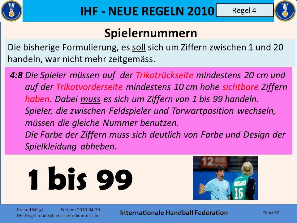 IHF - NEUE REGELN 2010 Internationale Handball Federation Chart 52 Regel 4 Die Funktion des Mannschaftskapitäns, nach den Regeländerungen 2005, nicht mehr verpflichtend zu erklären, wurde teilweise bedauert.