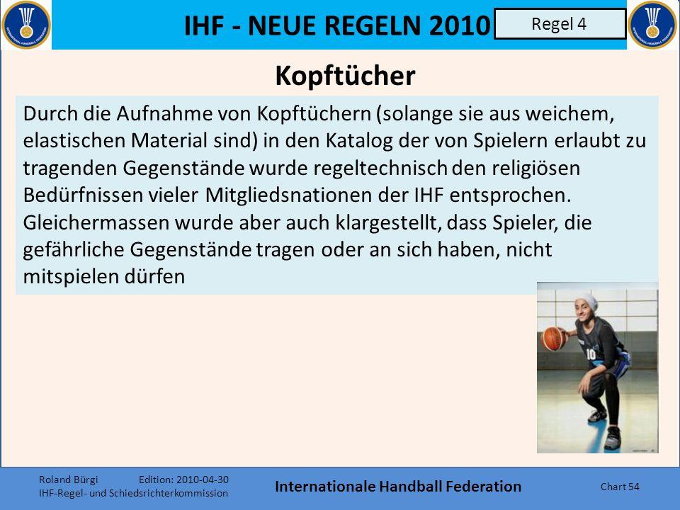IHF - NEUE REGELN 2010 Internationale Handball Federation Chart 53 Regel 4 Spielernummern Die bisherige Formulierung, es soll sich um Ziffern zwischen