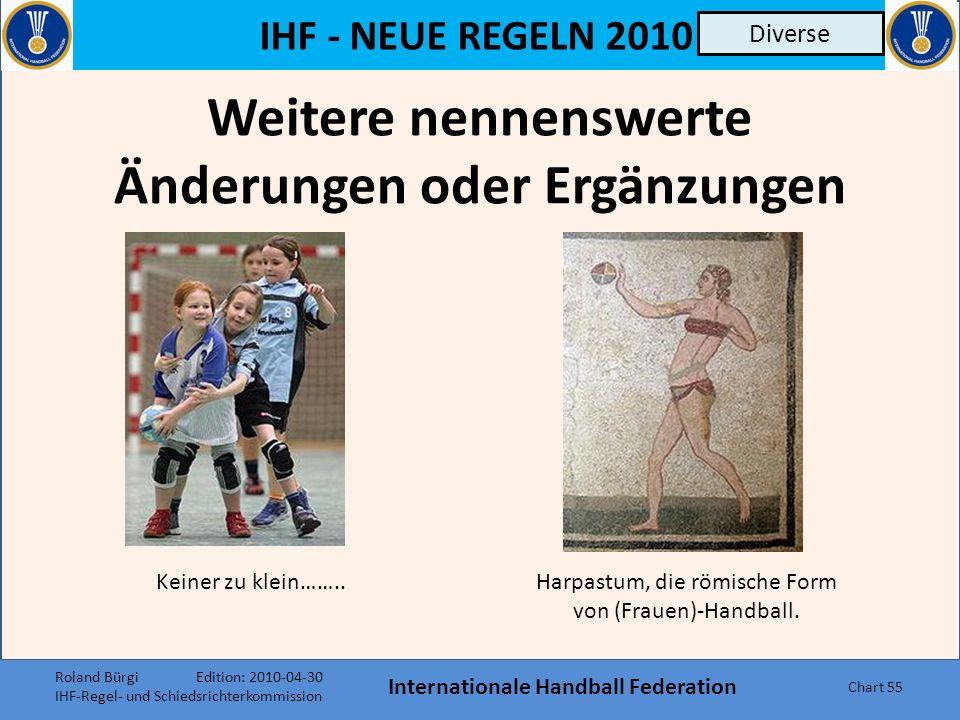 IHF - NEUE REGELN 2010 Internationale Handball Federation Chart 54 Regel 4 Kopftücher Durch die Aufnahme von Kopftüchern (solange sie aus weichem, ela