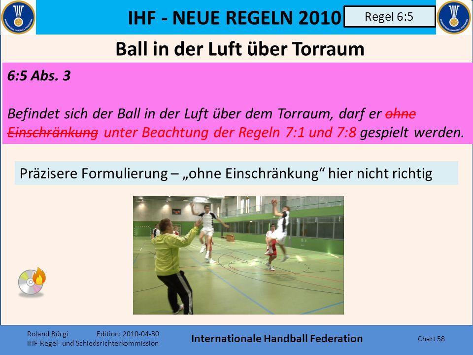 IHF - NEUE REGELN 2010 Internationale Handball Federation Chart 57 Regel 6:2 6:2 Beim Betreten des Torraums durch einen Feldspieler ist wie folgt zu e