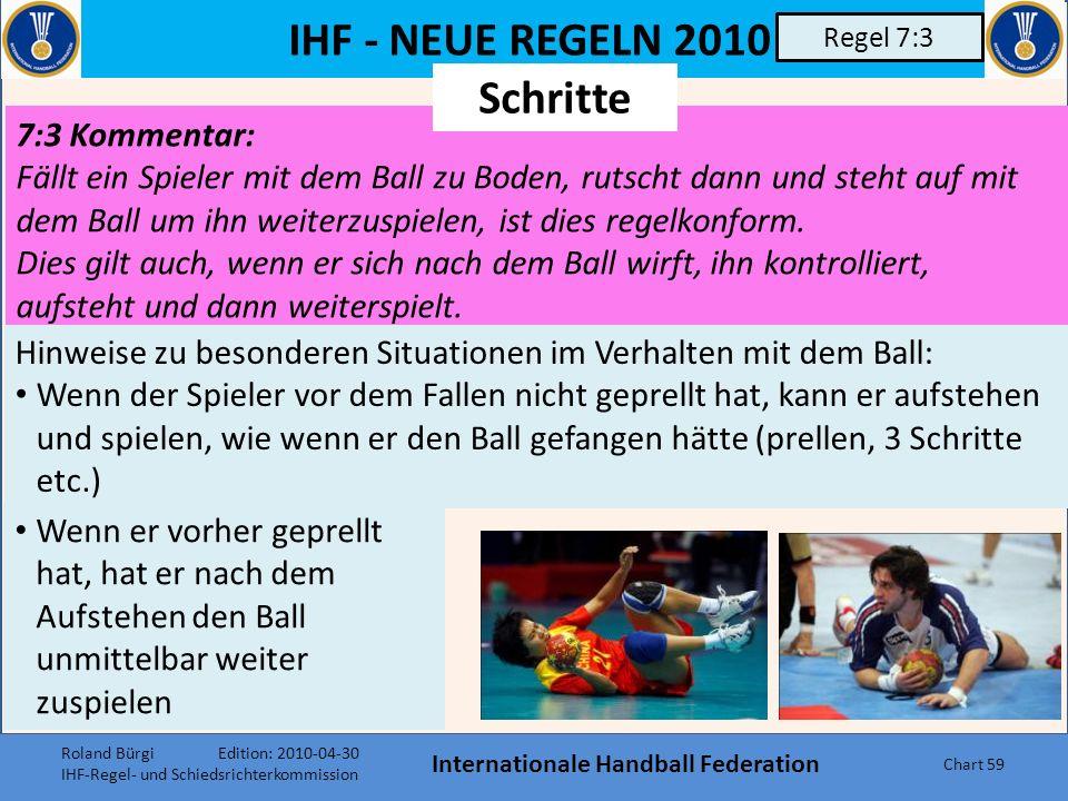 IHF - NEUE REGELN 2010 Internationale Handball Federation Chart 58 Regel 6:5 6:5 Abs. 3 Befindet sich der Ball in der Luft über dem Torraum, darf er o
