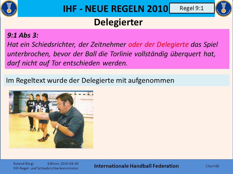 IHF - NEUE REGELN 2010 Internationale Handball Federation Chart 59 Regel 7:3 Roland Bürgi Edition: 2010-04-30 IHF-Regel- und Schiedsrichterkommission