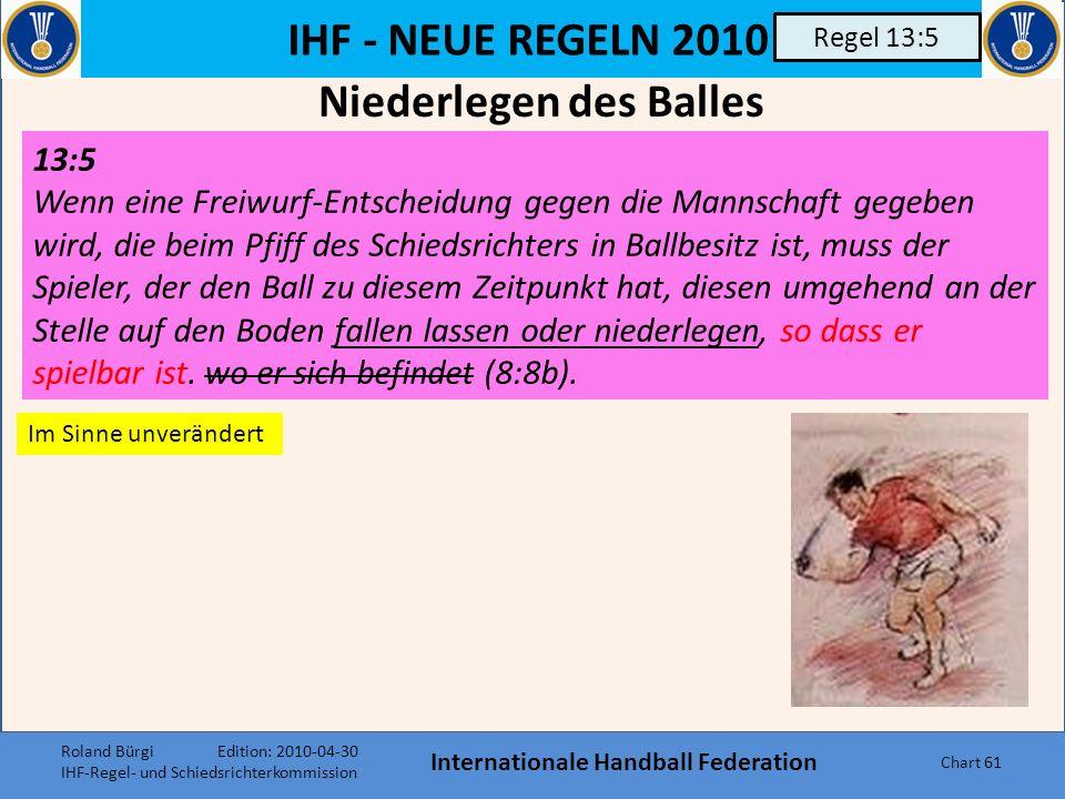 IHF - NEUE REGELN 2010 Internationale Handball Federation Chart 60 Regel 9:1 9:1 Abs 3: Hat ein Schiedsrichter, der Zeitnehmer oder der Delegierte das Spiel unterbrochen, bevor der Ball die Torlinie vollständig überquert hat, darf nicht auf Tor entschieden werden.