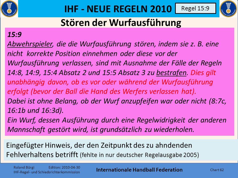 IHF - NEUE REGELN 2010 Internationale Handball Federation Chart 61 Regel 13:5 13:5 Wenn eine Freiwurf-Entscheidung gegen die Mannschaft gegeben wird,
