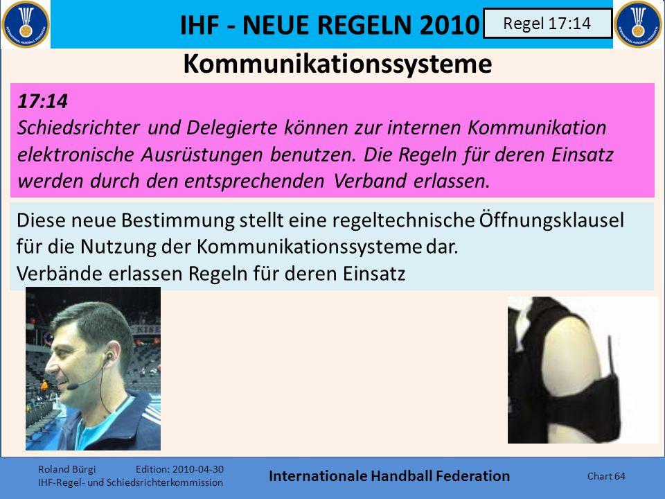IHF - NEUE REGELN 2010 Internationale Handball Federation Chart 63 Regel 17:8/9 17:8 Beide Schiedsrichter sind für das Zählen (Notieren) der Tore verantwortlich.