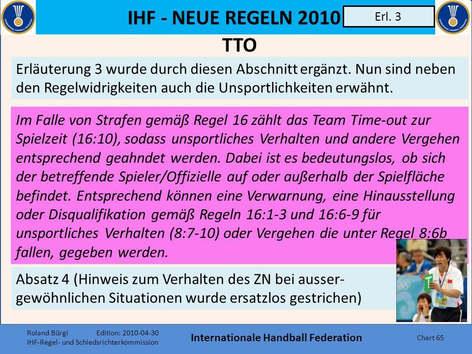 IHF - NEUE REGELN 2010 Internationale Handball Federation Chart 64 Regel 17:14 17:14 Schiedsrichter und Delegierte können zur internen Kommunikation e