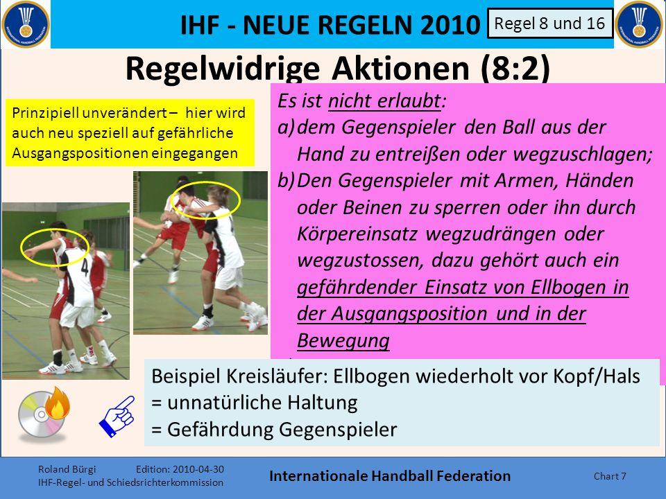 IHF - NEUE REGELN 2010 Internationale Handball Federation Chart 7 Regelwidrige Aktionen (8:2) Regel 8 und 16 Es ist nicht erlaubt: a)dem Gegenspieler den Ball aus der Hand zu entreißen oder wegzuschlagen; b)Den Gegenspieler mit Armen, Händen oder Beinen zu sperren oder ihn durch Körpereinsatz wegzudrängen oder wegzustossen, dazu gehört auch ein gefährdender Einsatz von Ellbogen in der Ausgangsposition und in der Bewegung c)…….