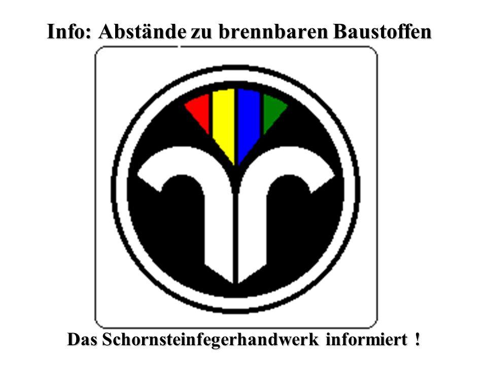 Das Schornsteinfegerhandwerk informiert ! Info: Abstände zu brennbaren Baustoffen
