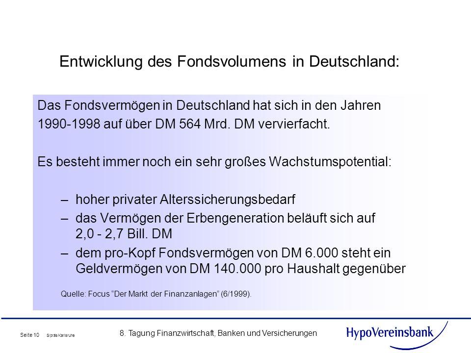 Seite 10 S/präs/Karlsruhe 8. Tagung Finanzwirtschaft, Banken und Versicherungen Entwicklung des Fondsvolumens in Deutschland: Das Fondsvermögen in Deu