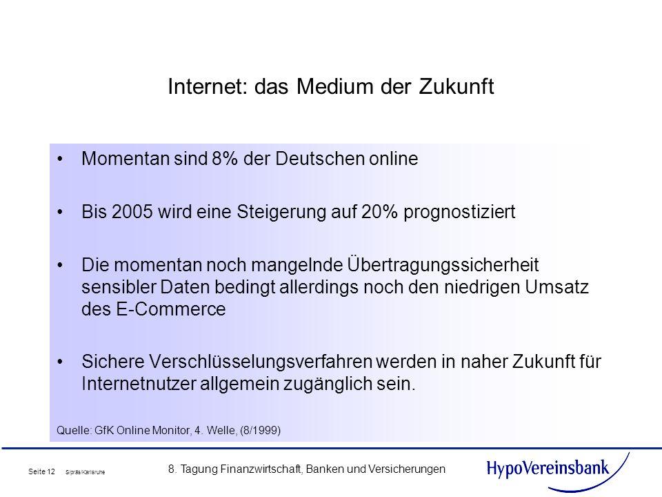 Seite 12 S/präs/Karlsruhe 8. Tagung Finanzwirtschaft, Banken und Versicherungen Internet: das Medium der Zukunft Momentan sind 8% der Deutschen online