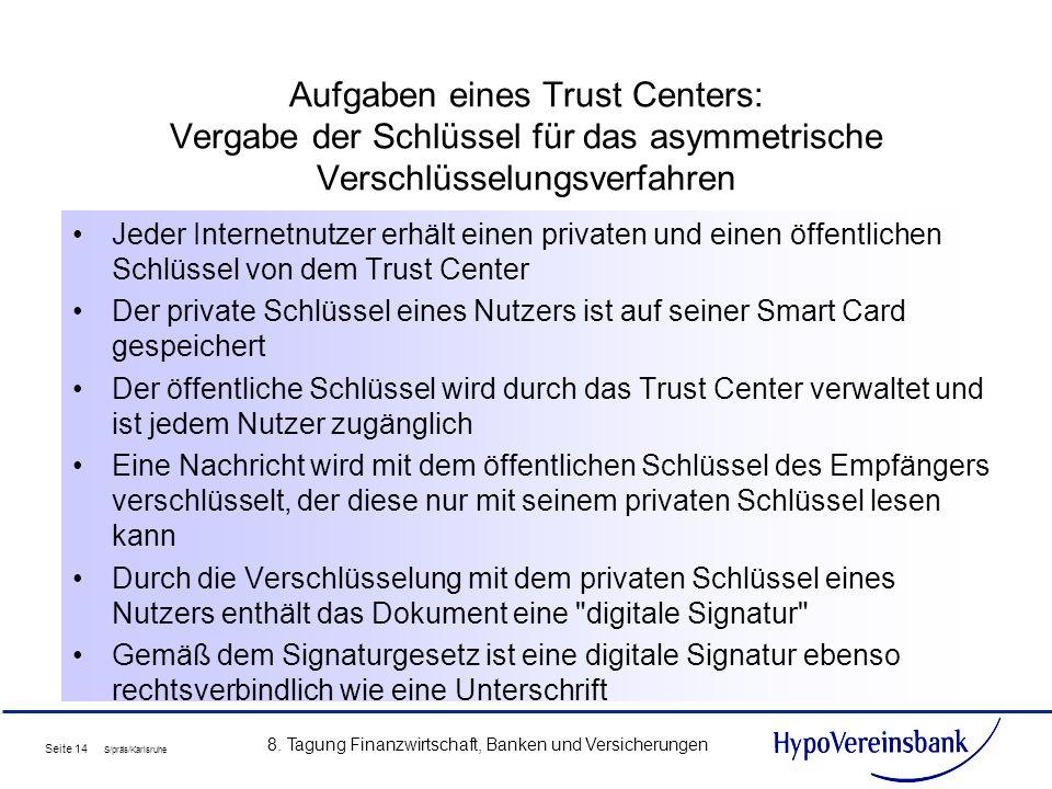 Seite 14 S/präs/Karlsruhe 8. Tagung Finanzwirtschaft, Banken und Versicherungen Aufgaben eines Trust Centers: Vergabe der Schlüssel für das asymmetris