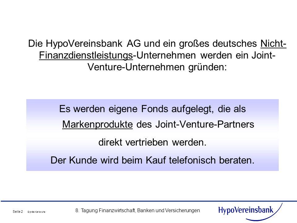Seite 2 S/präs/Karlsruhe 8. Tagung Finanzwirtschaft, Banken und Versicherungen Die HypoVereinsbank AG und ein großes deutsches Nicht- Finanzdienstleis