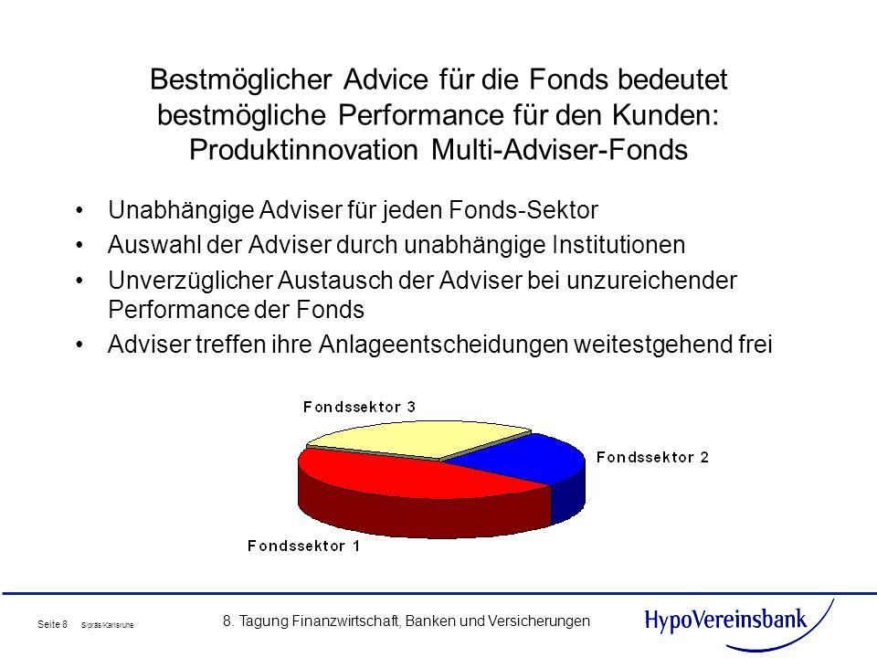 Seite 8 S/präs/Karlsruhe 8. Tagung Finanzwirtschaft, Banken und Versicherungen Bestmöglicher Advice für die Fonds bedeutet bestmögliche Performance fü
