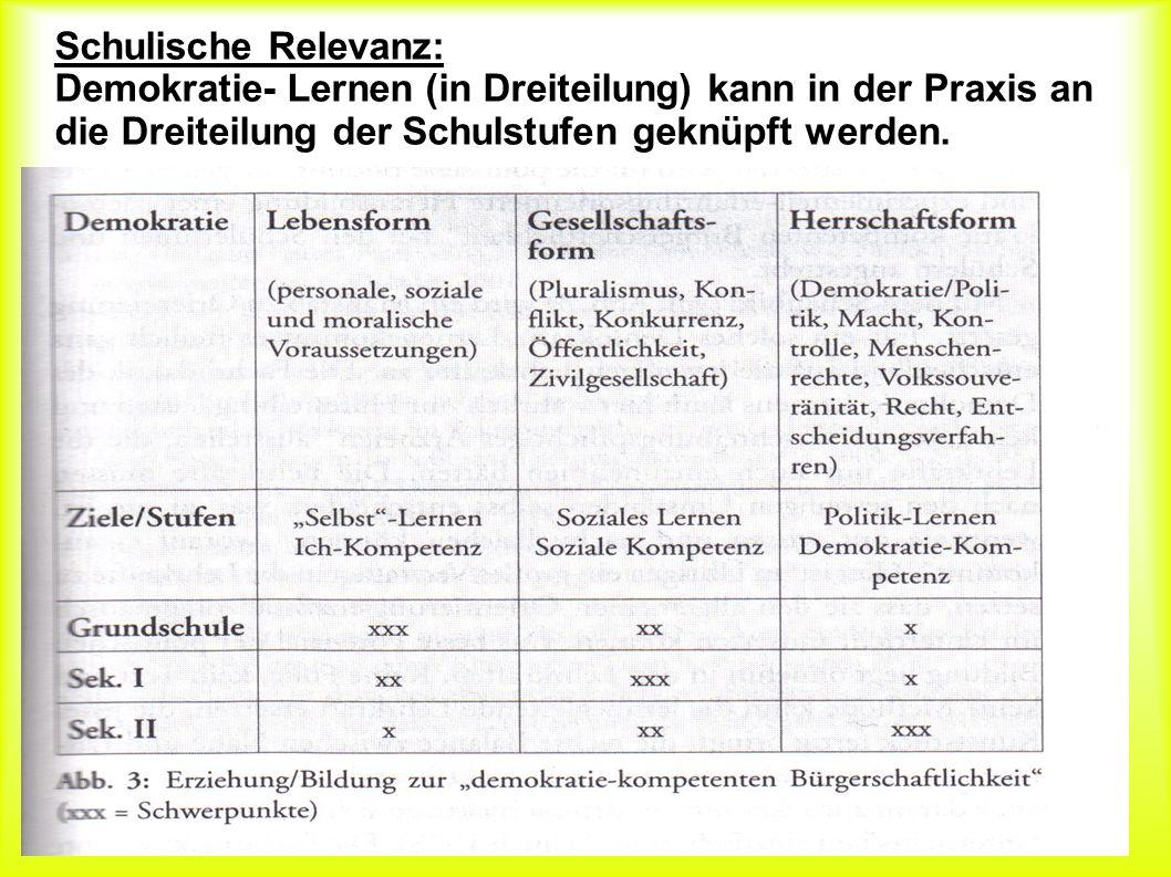 Schulische Relevanz: Schulische Relevanz: Demokratie- Lernen (in Dreiteilung) kann in der Praxis an die Dreiteilung der Schulstufen geknüpft werden.