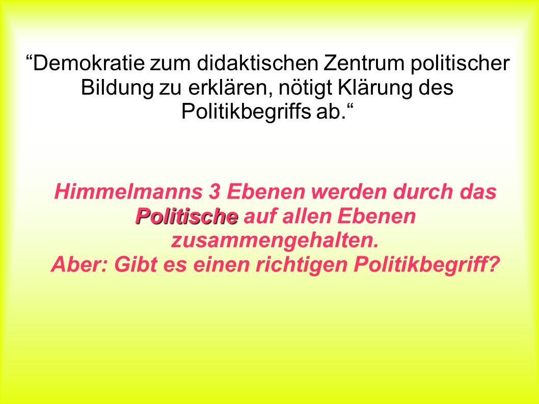 Politikbegriffs Demokratie zum didaktischen Zentrum politischer Bildung zu erklären, nötigt Klärung des Politikbegriffs ab. Politische Himmelmanns 3 E