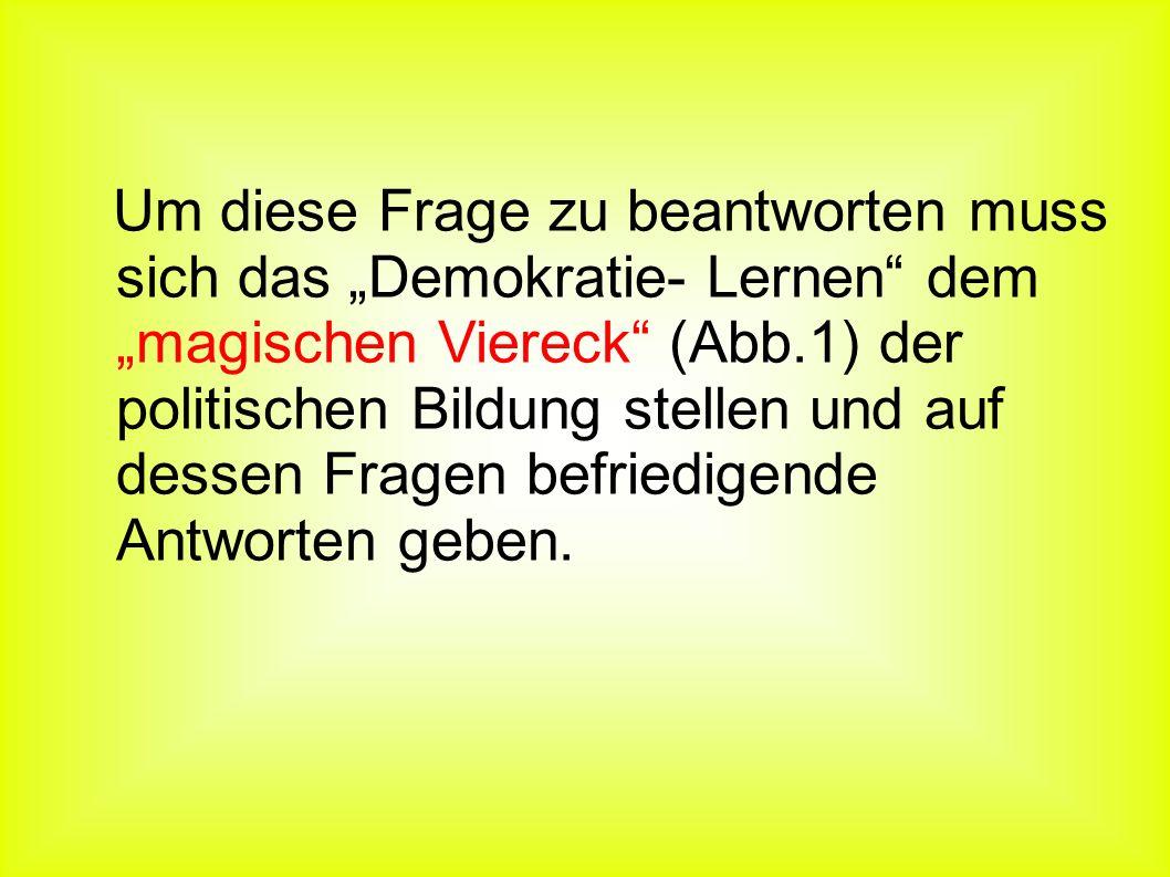 Literatur: Fauser, Peter: Demokratiepädagogik und politische Bildung.