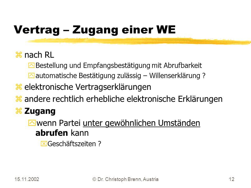 15.11.2002© Dr. Christoph Brenn, Austria12 Vertrag – Zugang einer WE znach RL yBestellung und Empfangsbestätigung mit Abrufbarkeit yautomatische Bestä