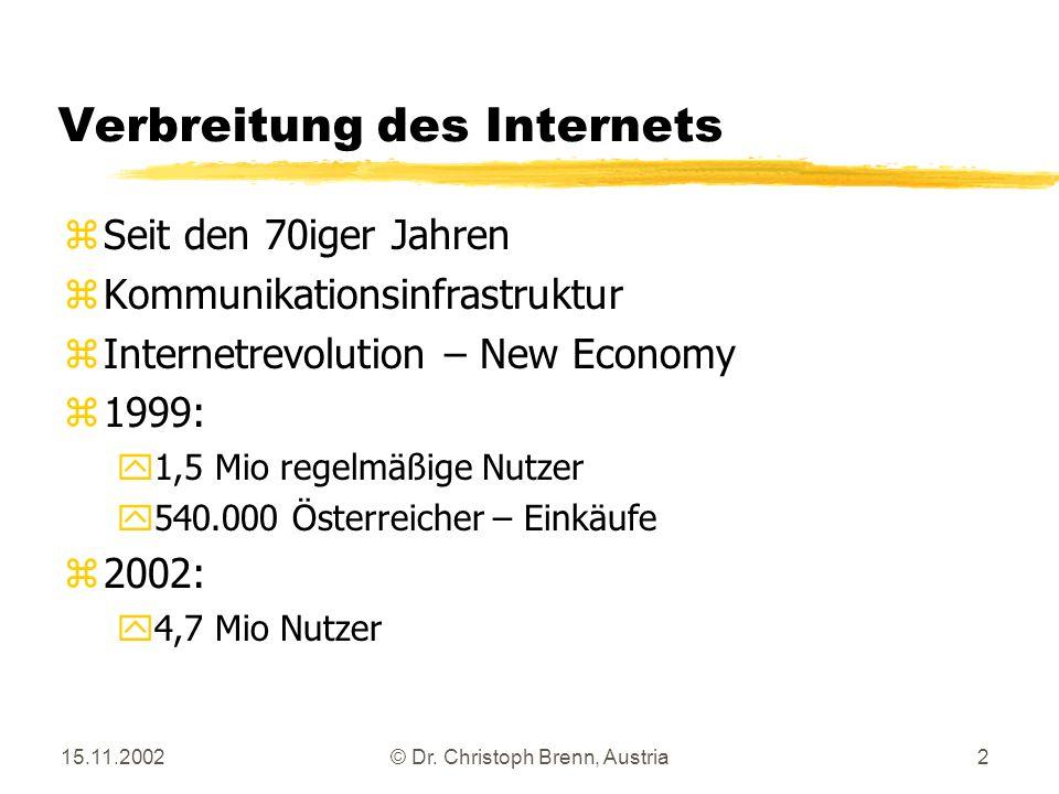 15.11.2002© Dr. Christoph Brenn, Austria2 Verbreitung des Internets zSeit den 70iger Jahren zKommunikationsinfrastruktur zInternetrevolution – New Eco