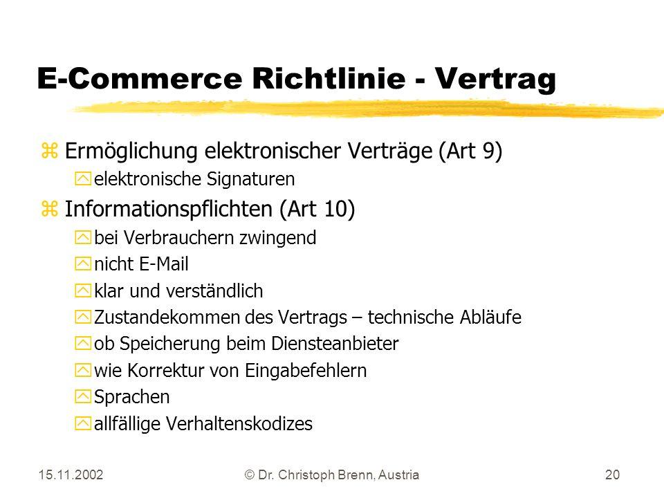 15.11.2002© Dr. Christoph Brenn, Austria20 E-Commerce Richtlinie - Vertrag zErmöglichung elektronischer Verträge (Art 9) yelektronische Signaturen zIn