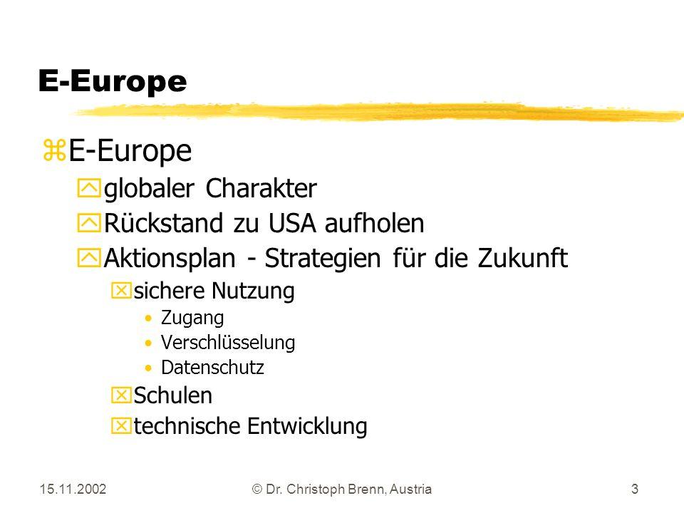 15.11.2002© Dr. Christoph Brenn, Austria3 E-Europe zE-Europe yglobaler Charakter yRückstand zu USA aufholen yAktionsplan - Strategien für die Zukunft
