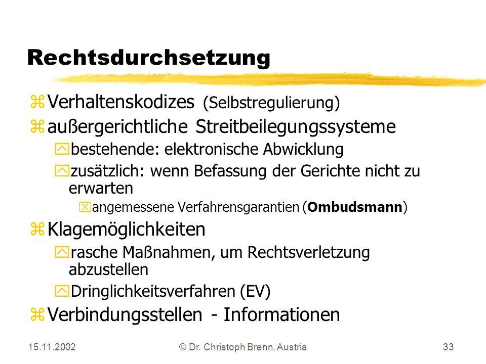 15.11.2002© Dr. Christoph Brenn, Austria33 Rechtsdurchsetzung zVerhaltenskodizes (Selbstregulierung) zaußergerichtliche Streitbeilegungssysteme ybeste