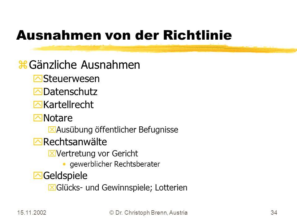15.11.2002© Dr. Christoph Brenn, Austria34 Ausnahmen von der Richtlinie zGänzliche Ausnahmen ySteuerwesen yDatenschutz yKartellrecht yNotare xAusübung