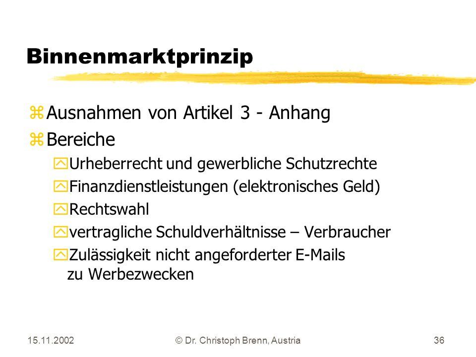 15.11.2002© Dr. Christoph Brenn, Austria36 Binnenmarktprinzip zAusnahmen von Artikel 3 - Anhang zBereiche yUrheberrecht und gewerbliche Schutzrechte y