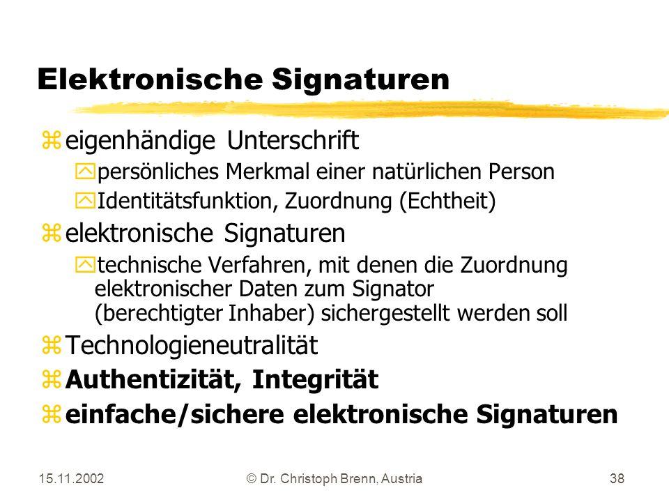 15.11.2002© Dr. Christoph Brenn, Austria38 Elektronische Signaturen zeigenhändige Unterschrift ypersönliches Merkmal einer natürlichen Person yIdentit