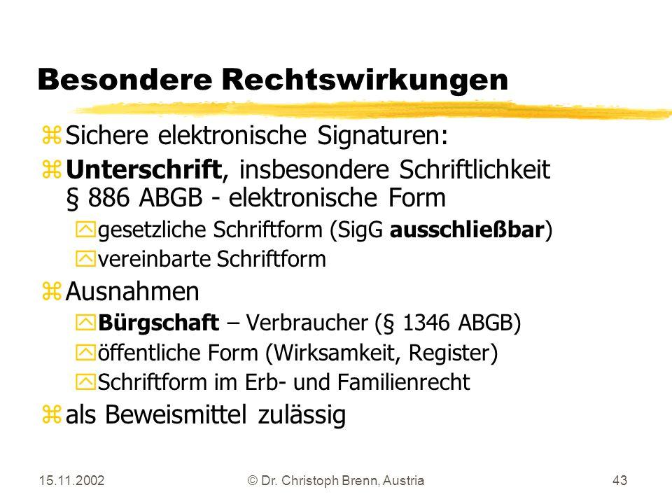 15.11.2002© Dr. Christoph Brenn, Austria43 Besondere Rechtswirkungen zSichere elektronische Signaturen: zUnterschrift, insbesondere Schriftlichkeit §